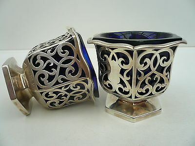 Silver Master Salts & Liners, Sterling, Antique, English, Hallmarked 1863