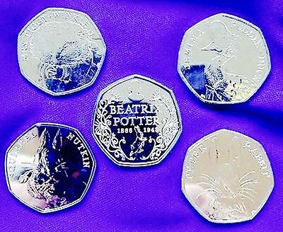 HURRY*PRICE RISE DUE*1ST MAY*Beatrix Potter  set of 5X 50p coins IN WALLETS