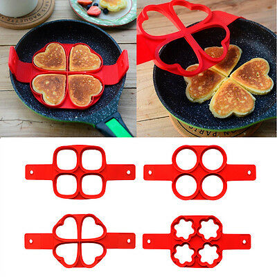 Silicone Frying Pan Fried Egg Pancake Cooking Ring Mould Shaper Mold 4 Styles
