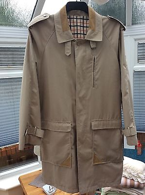 Mens Beige Canda Long-Fit Coat Medium With Interior Check/Plaid Pattern