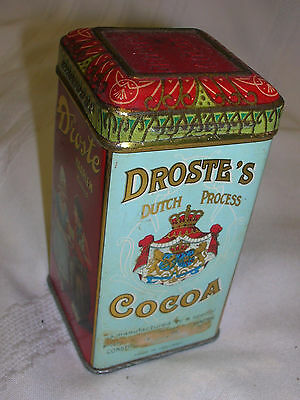 """Vintage Droste Haarlem Holland Cocoa Tin & Recipes Sheet 4"""" Tall Tin Only"""