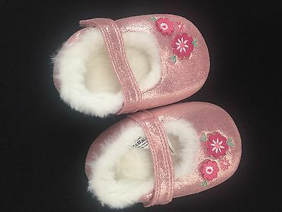 Monsoon Baby Girl Pink Slipper Shoe 12-18 Months