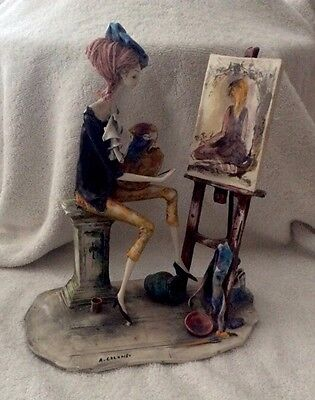Italian Hand Sculpture Art Figure By Adriano Colombo - The Artist - Rare