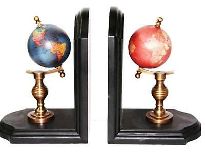 NEW Set 2 World Globe Bookends Vintage Antique Style Home Book Office Decor Gift