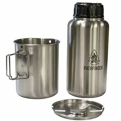 Pathfinder Stainless Steel Bottle & Cup Set | Bushcraft Survival Camp Pot Pan