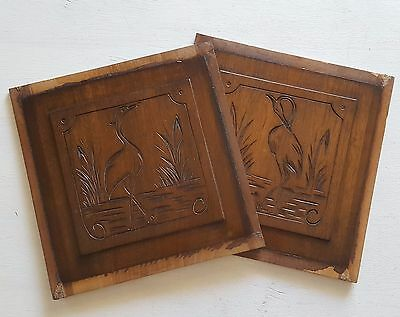 PAIR CARVED WOOD PANEL salvaged furniture door WADING BIRD Small