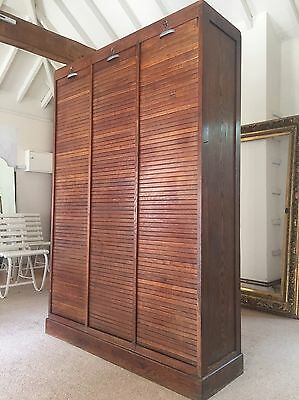 Vintage 1930s French Oak Tambour Fronted Triple Filing Cabinet