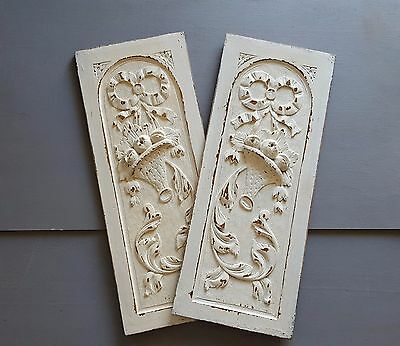 MATCHED PAIR OF CARVED WOOD PANEL salvaged furniture for DIY Beige shabby