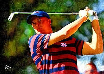 Jordan Spieth 2016 Ryder Cup Sketch Card *Artist Signed* Rare 2/5 Only Five Made