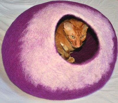 Purple Felted wool Cat Cave cat cocoon bed Handmade Felt cat caves wool beds