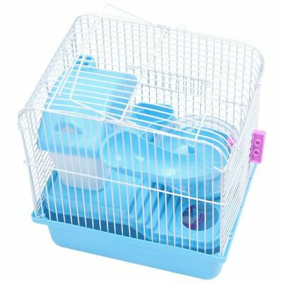2 Floors Storey Hamster Cage Mouse house with slide disk spinning bottle F2H1