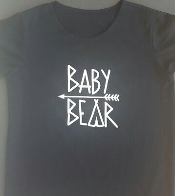 BABY BEAR Screen Printed Children's T shirt Size Small (8-10) NWOT Black