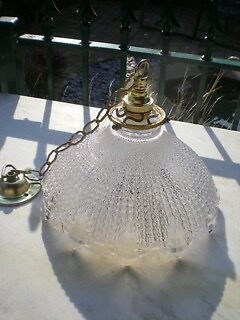 Holophane Style Light Shade/pendant With French Brass Gallery