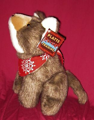 """Platte River Trading Coyote With Bandanna 12"""" Stuffed Animal Plush NEW! NWT"""