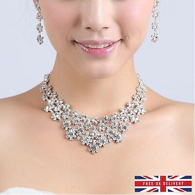Bridesmaid Jewelry Set Bridal Jewellery Crystals Necklace Earring