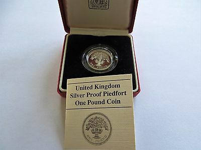 1987 UK Proof Silver Piedfort 1 Pound Coin W/ Box and COA