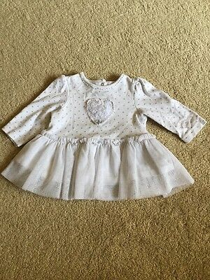 Girls Little Me Long Sleeved Dress Size 6 Months White And Silver