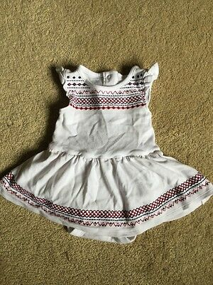 Baby Girls M&S Cotton Dress and Vest Combined Age 3-6 Months White