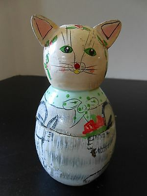 Vintage Wooden Hand Painted Cat Kitten Box Container Holder