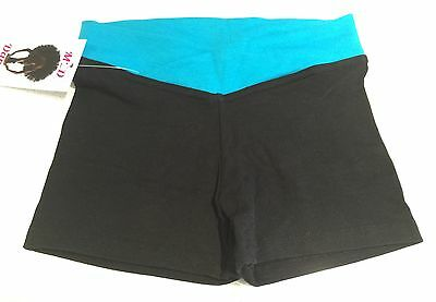 V-band Dance Shorts Childs 8 Turquoise And Black Bnwt
