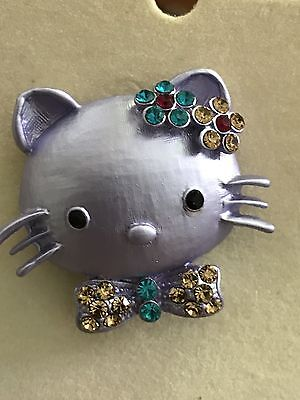 Vintage PURPLE Ruccini Hello Kitty Fashion Pin With Rhinestones... In Package