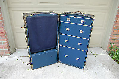 Vintage 1900's Travelwell Trunks by Schmit Trunk Co Wardrobe Steamer Trunk Chest