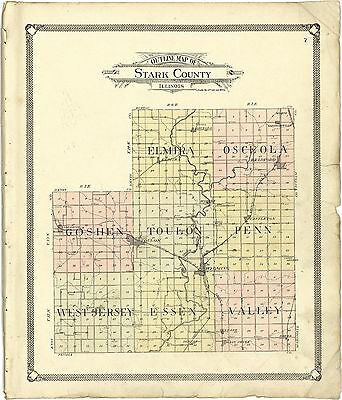 STARK COUNTY Illinois history plat 1907 maps old GENEALOGY LAND OWNER DVD 124
