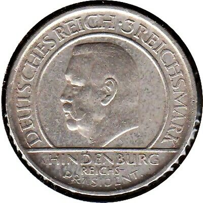 Germany 1929-A Silver Weimar Constitution Three Reichsmark Coin (Km#64)