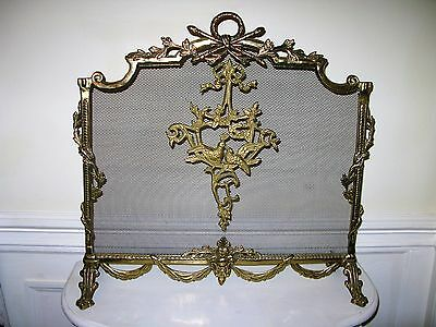Antique Vintage French Empire Neoclassical Birds And Ribbon Fireplace Screen