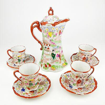 Nippon Japanese Porcelain Chocolate Pot Coffee Teapot Geisha Enamel Red Set of