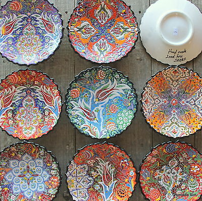 18cm Ceramic hanging plate - Hand painted - Gorgeous Designs - Colourful Turkish