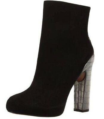Boutique 9 Tana Ankle Fashion Boot Black Suede Pewter Leather 8.5 US NEW IN BOX