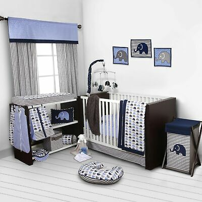 Navy Gray Elephant 10 pcs Crib Bedding Set Baby Boy Nursery Quilt Mobile Diaper