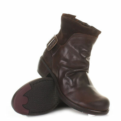 FLY LONDON MEL DARK BROWN LEATHER WESTERN ANKLE BOOTS LADIES size 38/7 buckle