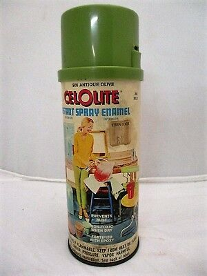 Vtg 1966 CelOlite Instant Spray Enamel Paint Can 3/4 Full Antique Olive 13ozs