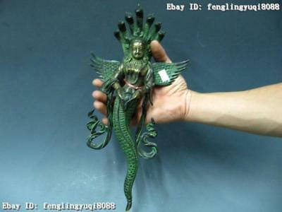 14 Tibet Buddhism Temple Pure Copper Bronze Carved Kwan-yin snake God Statue