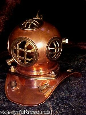 BEAUTIFUL Vntg GENUINE COPPER & BRASS Nautical Divers Diving Helmet - Desk Size!