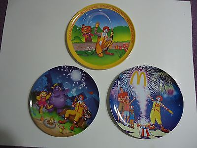 Set Of 3 Ronald Mcdonald Plates - 1977, 2004, 2006