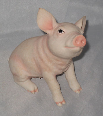 "Baby Pig Figurine Farm Animal Pink Piglet Poly Stone 4.25"" High New in Box Piggy"
