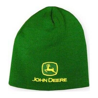 NEW YOUTH Size John Deere Green Knit Stocking Cap Hat Beanie - Embroidered Logo