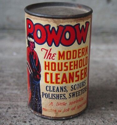 Vintage Powow Household Cleanser Free Sample Size Native American Graphics