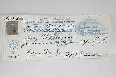 1874 National Bank Virginia Richmond  Fire & Marine Insurance revenue COWARDIN