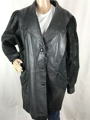 Wilsons Women's sz M 100% Leather Paisley Print Sleeves Button Down Trench Coat