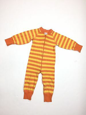 Hanna Andersson Orange Striped One Piece Zippered Pajama Sleeper Sz 80 12-18 Mos