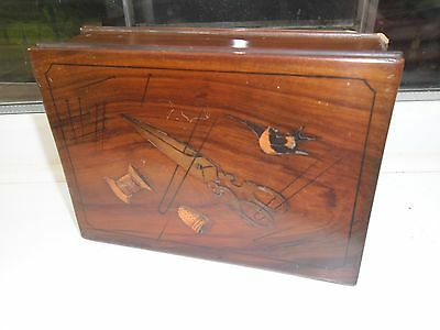 Rare Antique Sorrento Ware Sewing And Needlework Inlaid Box.