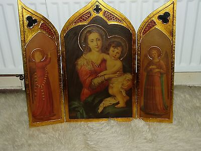 Very large vintage Madonna and child  wood and gilt folding tripytch