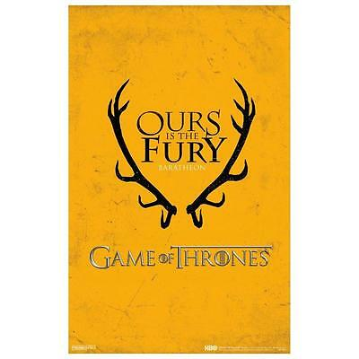 Game of Thrones GoT Baratheon Ours is the Fury Sigil TV Series Poster 11x17