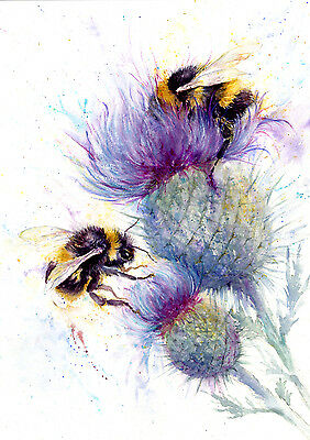 Bees  watercolour, print of original painting A3 size on watercolour paper