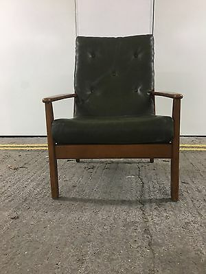 Vintage Mid Century Parker Knoll Armchair. Green Leather. 2 Available