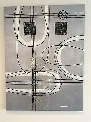 Decorative Painting on Canvas, Abstract, Signed, 90 x 120cm